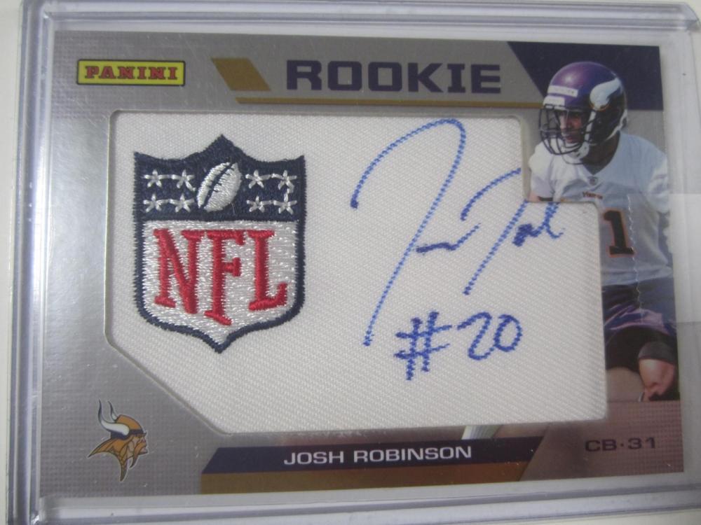 Josh Robinson Minnesota Vikings Hand Signed Autographed Piece of Jersey Rookie Card