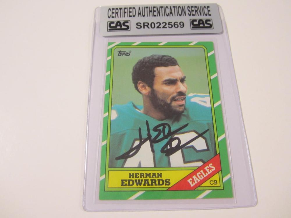 Herman Edwards Eagle Hand Signed Autographed Card CAS Certified