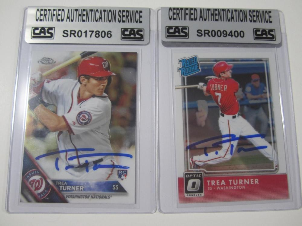 Trea Turner Washington Nationals Hand Signed Autographed Cards Lot of 2 CAS Certified