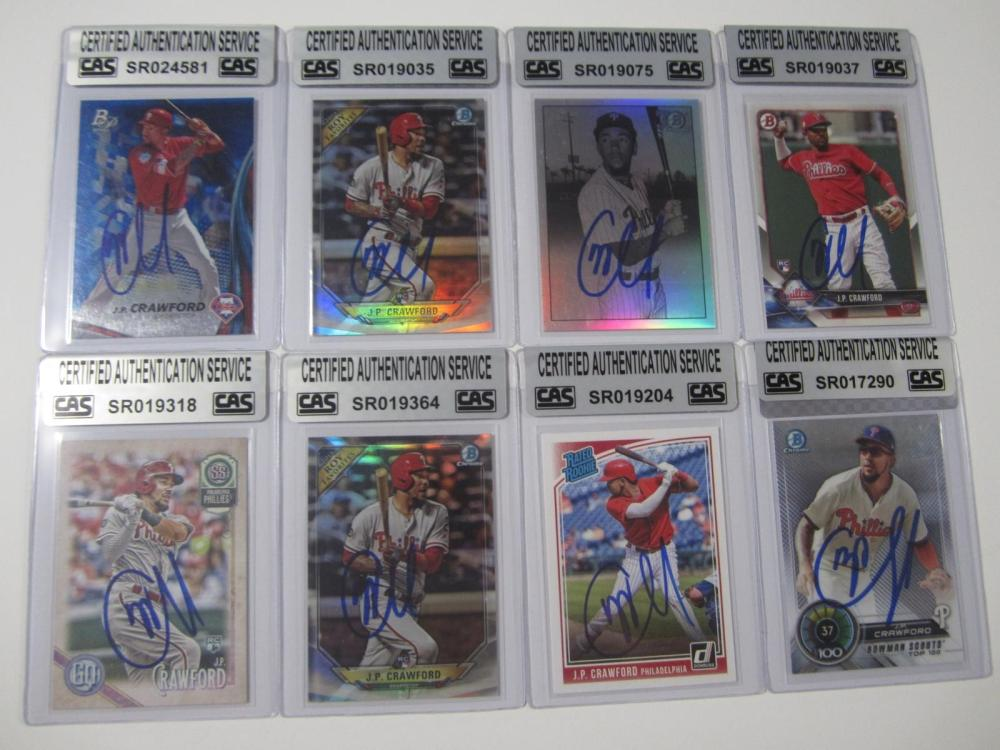 JP Crawford Phillies Hand Signed Autographed Cards Lot of 8 CAS Certified