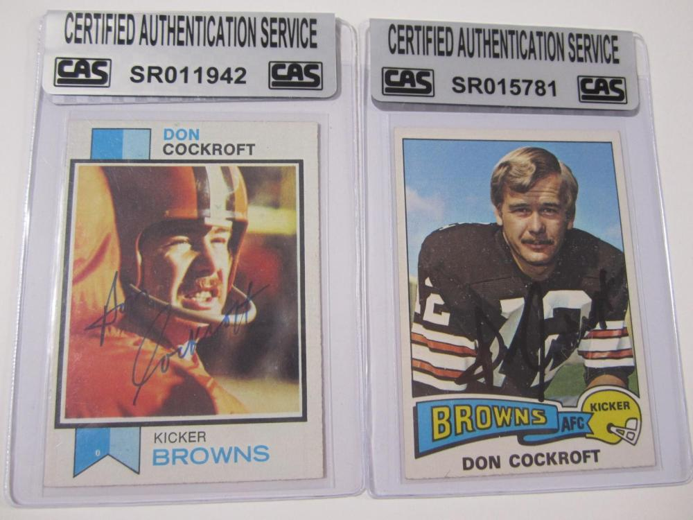 Don Cockroft Cleveland Browns Hand Signed Autographed Cards Lot of 2 CAS Certified