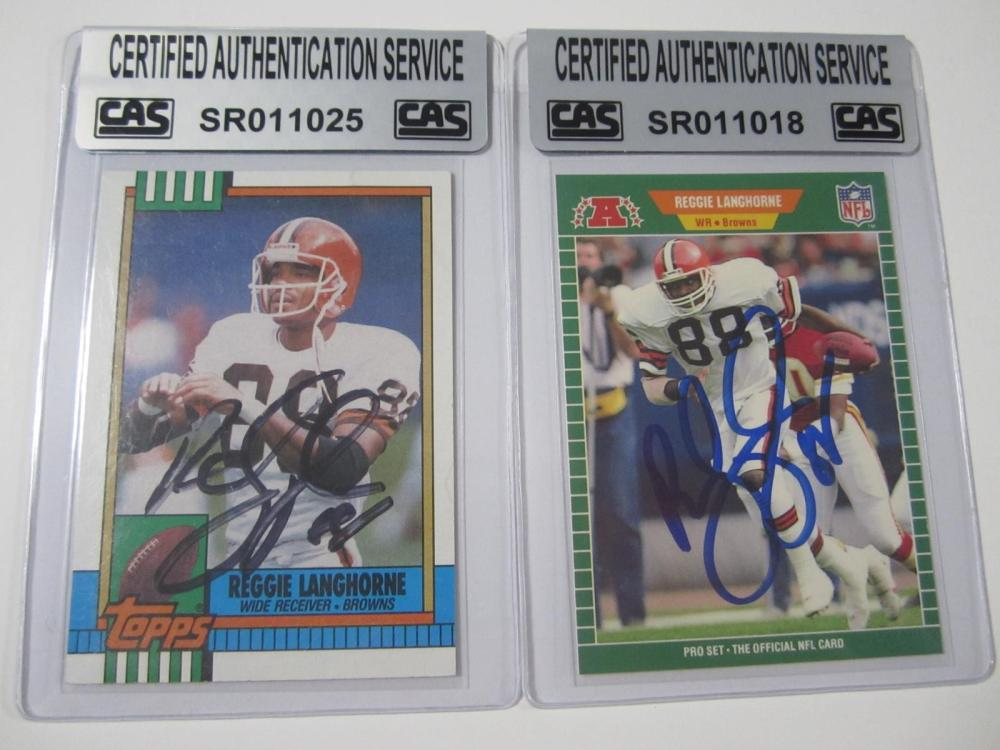 Reggie Langhorne Cleveland Browns Hand Signed Autographed Cards Lot of 2 CAS Certified