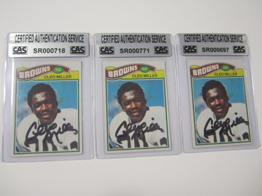 Cleo Miller Cleveland Browns Hand Signed Autographed Cards Lot of 3 CAS Certified