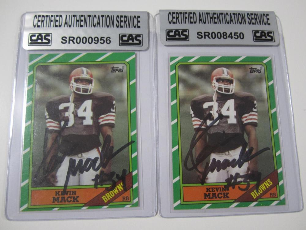 Kevin Mack Cleveland Browns Hand Signed Autographed Cards Lot of 2 CAS Certified