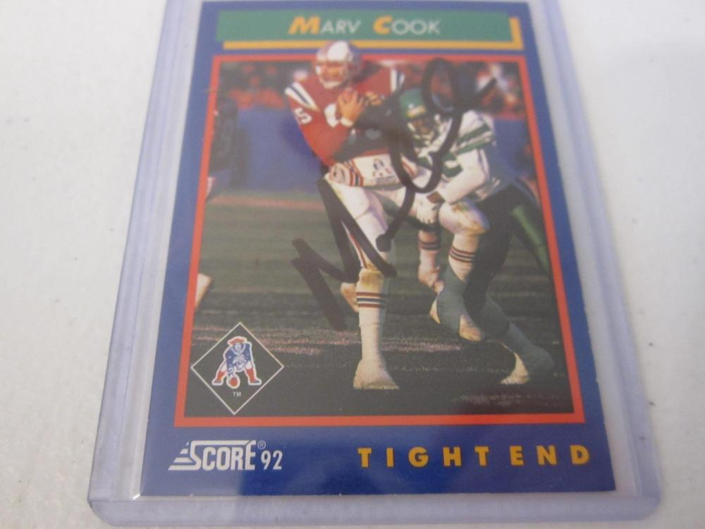 MARV COOK PATRIOTS SIGNED AUTOGRAPHED CARD COA