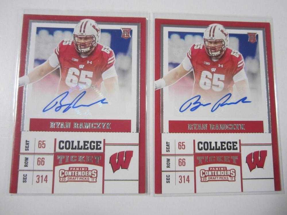 Ryan Ramczyk Wisconsin 2017 Panini Contenders Auto Rookie Card Lot of 2
