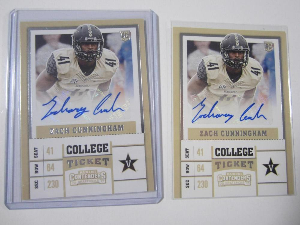 Zach Cunningham 2017 Panini Contenders Auto Rookie Card Lot of 2