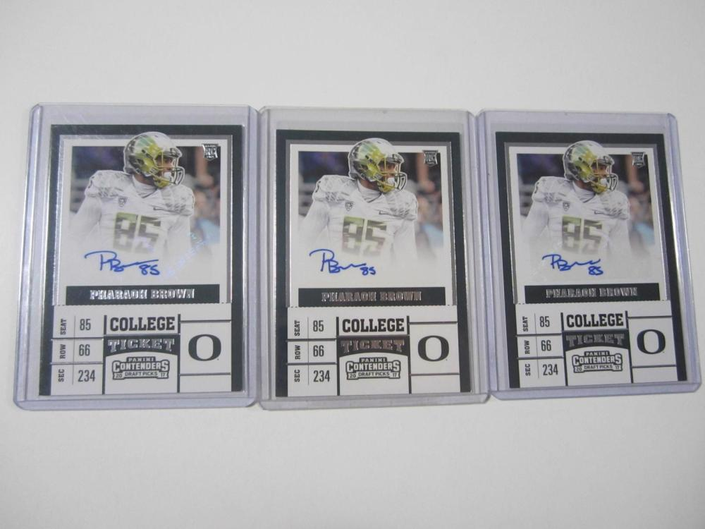 Pharaoh Brown Oregon 2017 Panini Contenders Auto Rookie Card Lot of 3
