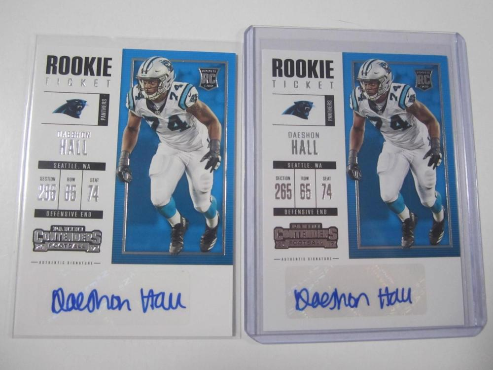 Daeshon Hall Panthes2017 Panini Contenders Auto Rookie Card Lot of 2