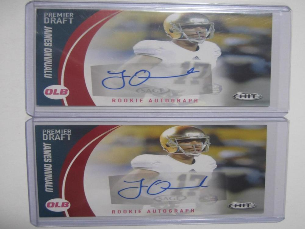 James Onwualu Hand Signed Autographed Rookie Cards Lot of 2 Certified