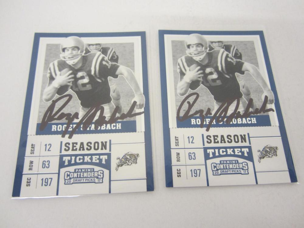 Roger Staubach Dallas Cowboys Hand Signed Autogarphed 2017 Draft Pick Tickets Lot of 2 Certified