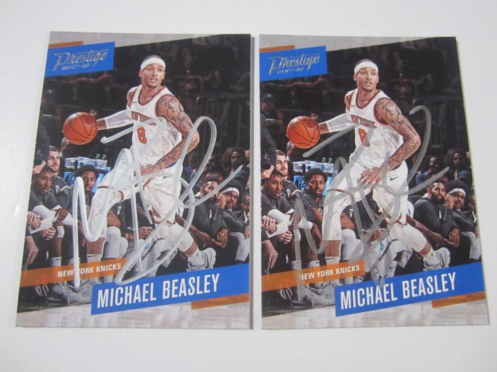 (2) Michael Beasley Knicks SIGNED AUTOGRAPHED CARDS COA