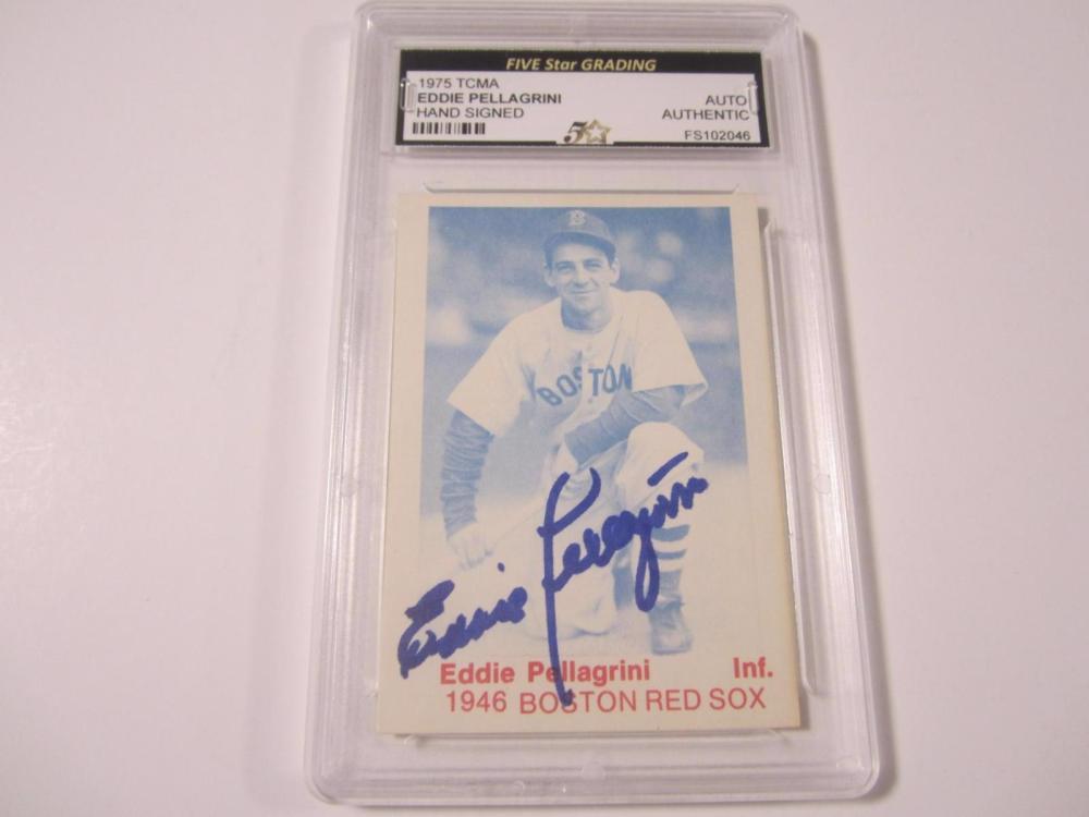 Eddie Pellagrini 1975 TCMA Hand Signed Autographed Card Five Star Certified