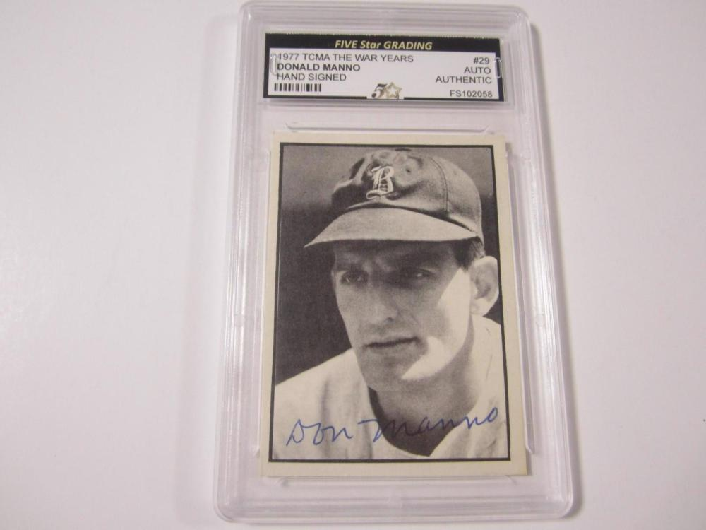 Donald Manno 1977 TCMA The War Years Hand Signed Autographed Card Five Star Certified