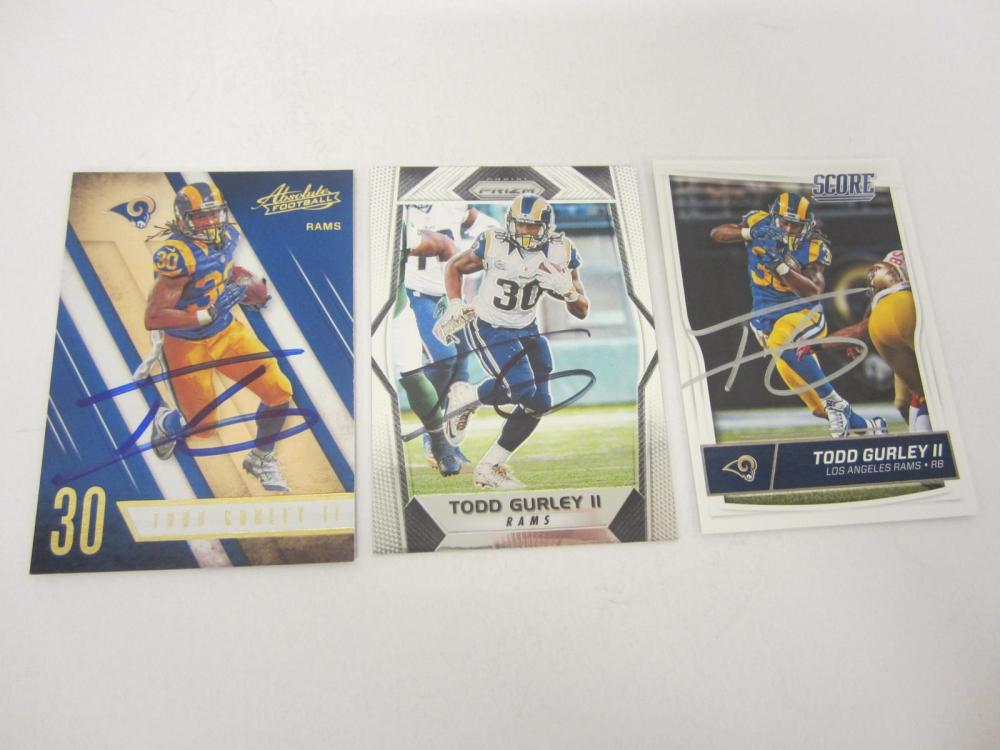 Todd Gurley Rams Hand Signed Autographed Trading Cards Lot of 3 Certified