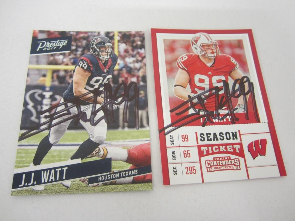 JJ Watt Houston Texans Hand Signed Autographed Trading Cards Lot of 2 Certified
