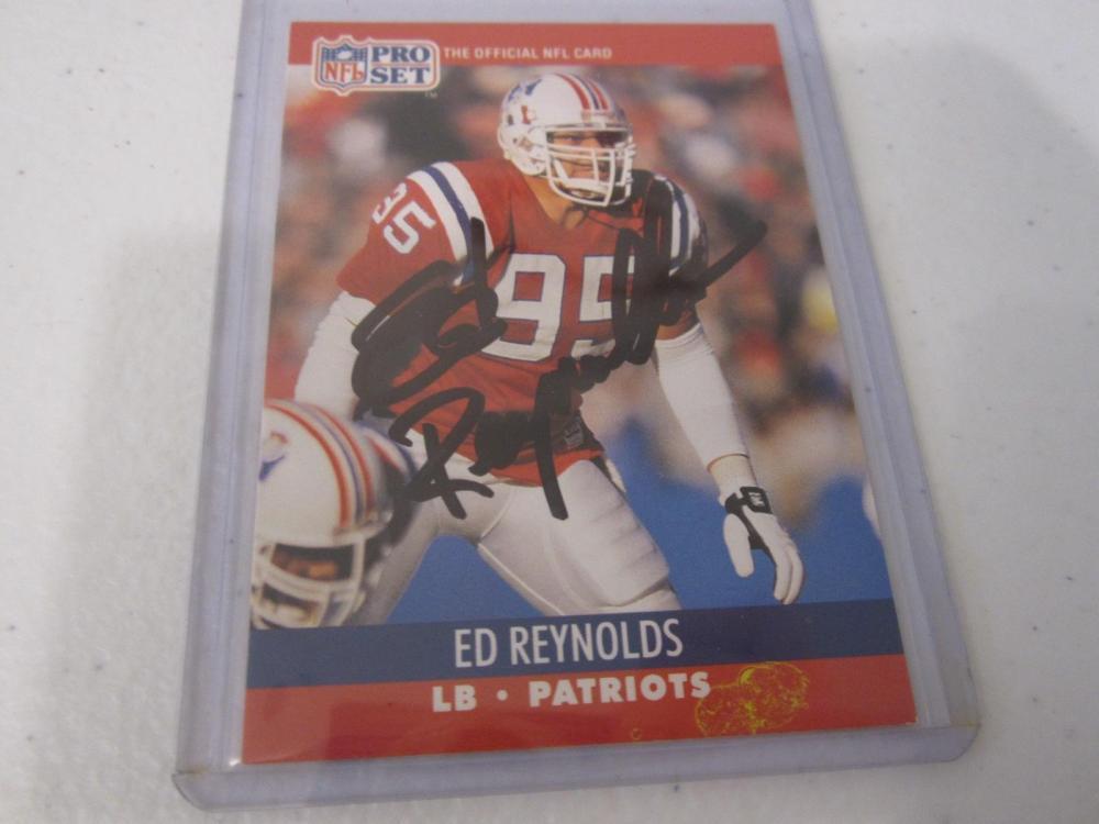 ED REYNOLDS PATRIOTS SIGNED AUTOGRAPHED CARD COA