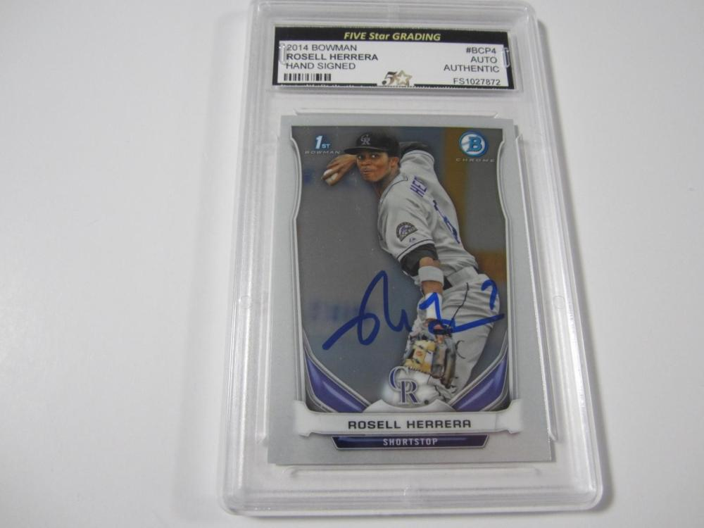 Rosell Herrera 2014 Bowman Hand Signed Autographed Card Five Star Certified