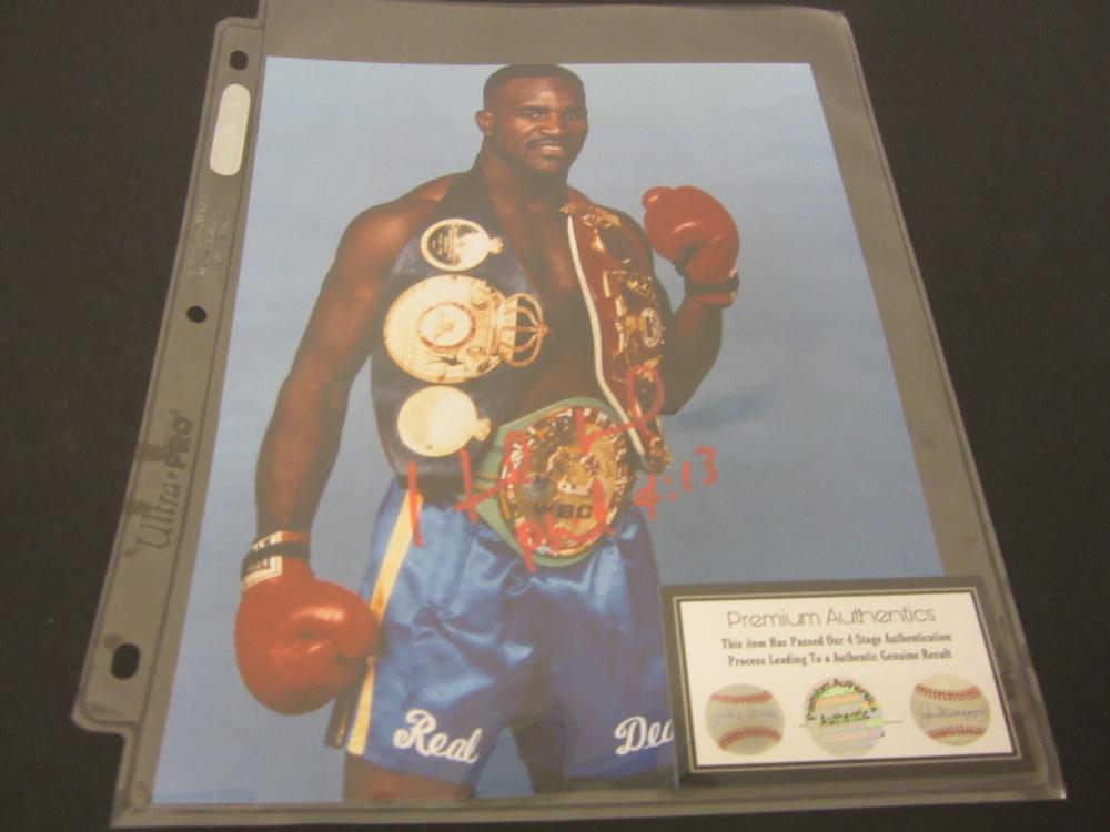 EVANDER HOLYFIELD SIGNED AUTOGRAPHED BOXING 8X10 COA