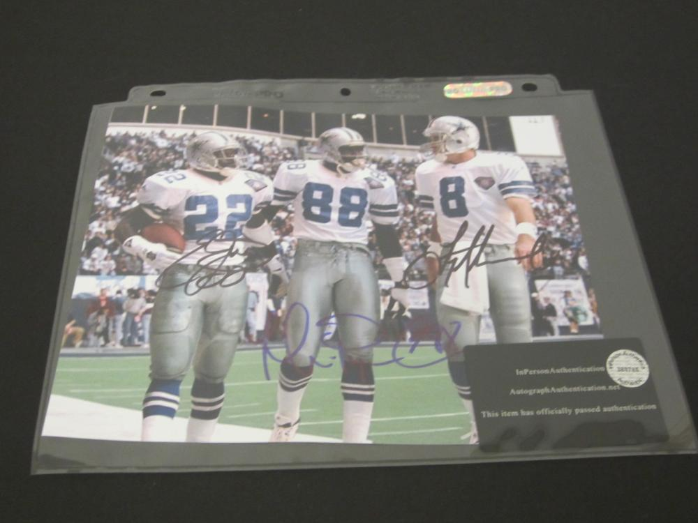 AIKMAN,IRVIN,SMITH SIGNED AUTOGRAPHED COWBOYS 8X10 COA
