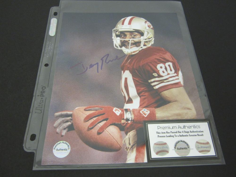 JERRY RICE SIGNED AUTOGRAPHED 49ERS 8X10 COA