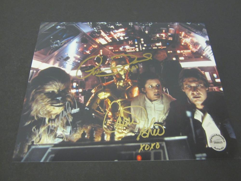 CARRIE FISHER,HARRISON FORD,PETER MAYHEW,ANTHONY DANIELS SIGNED AUTOGRAPHED STAR WARS 8X10 COA