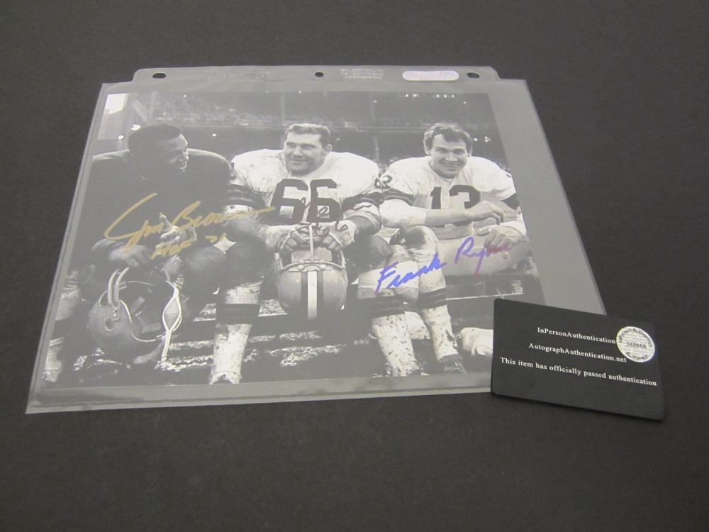 JIM BROWN,FRANK RYAN,GENE HICKERSON SIGNED AUTOGRAPHED BROWNS 8X10 COA