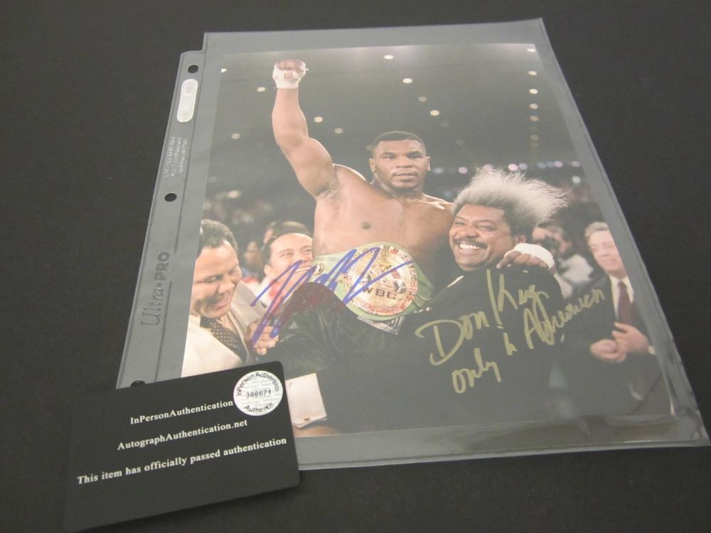 MIKE TYSON,DON KING SIGNED AUTOGRAPHED BOXING 8X10 COA