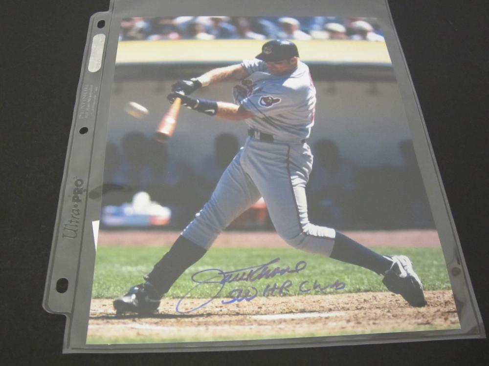 JIM THOME SIGNED AUTOGRAPHED INDIANS 8X10 COA