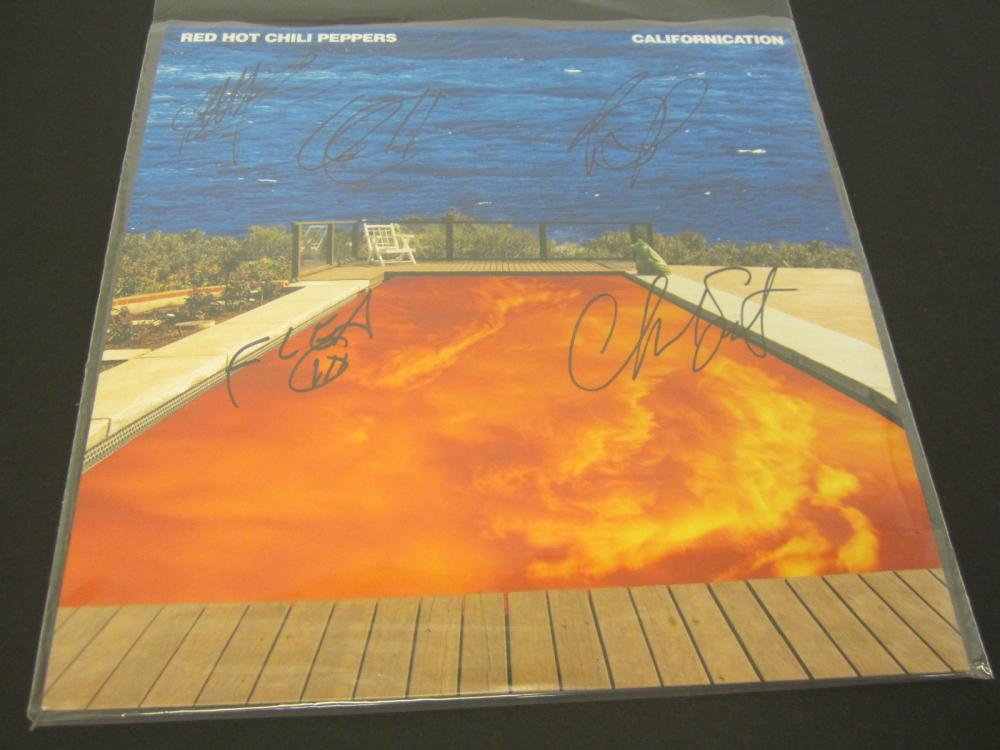 RED HOT CHILLI PEPPERS BAND SIGNED AUTOGRAPHED RECORD COA FLEA,ANTHONY KIEDIS +