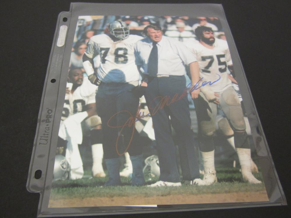 JOHN MADDEN SIGNED AUTOGRAPHED RAIDERS 8X10 COA