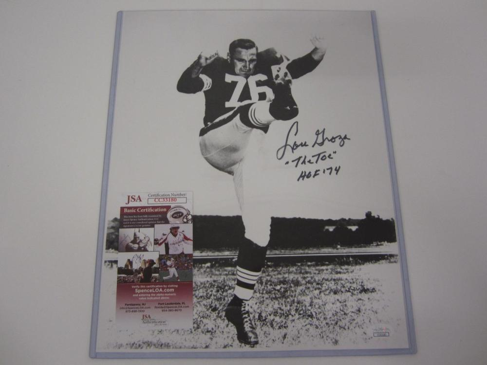 LOU GROZA BROWNS SIGNED AUTOGRAPHED 11X14 PHOTO CERTIFIED JSA COA