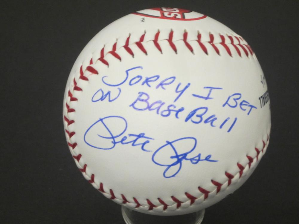 "Pete Rose ""Sorry I Bet on Baseball"" Reds signed autographed Baseball Certified Coa"