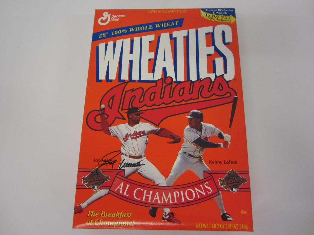 JOSE MESA INDIANS SIGNED AUTOGRAPHED WHEATIES BOX FIVESTAR CERTIFIED