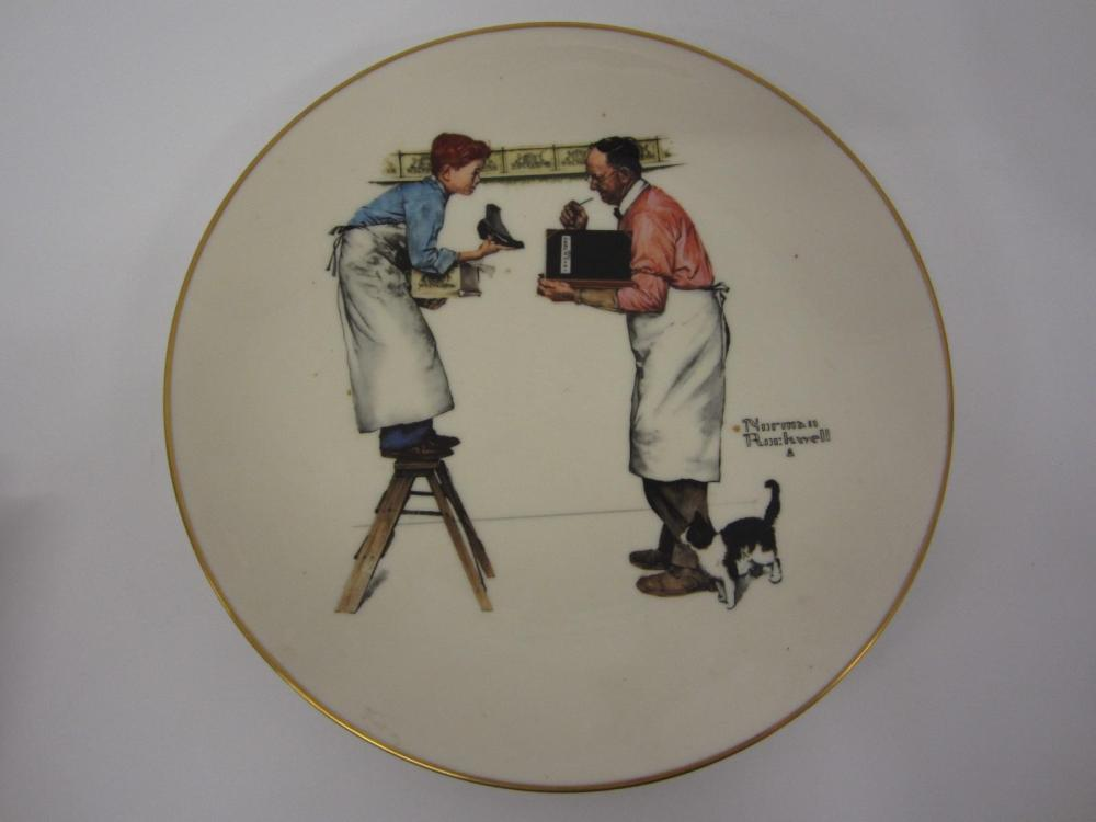 "NORMAN ROCKWELL VINTAGE GLASS PLATE ""WINTER-YEAR END COUNT"""