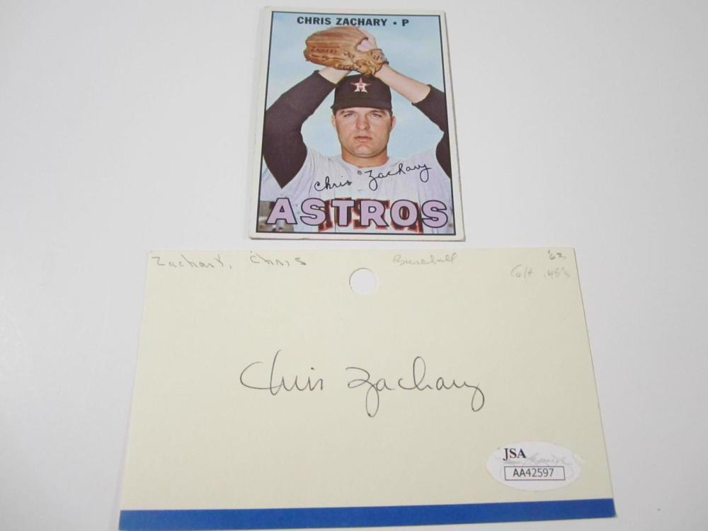 Chris Zachary Astros Hand Signed Autographed Index Card JSA Certified COA