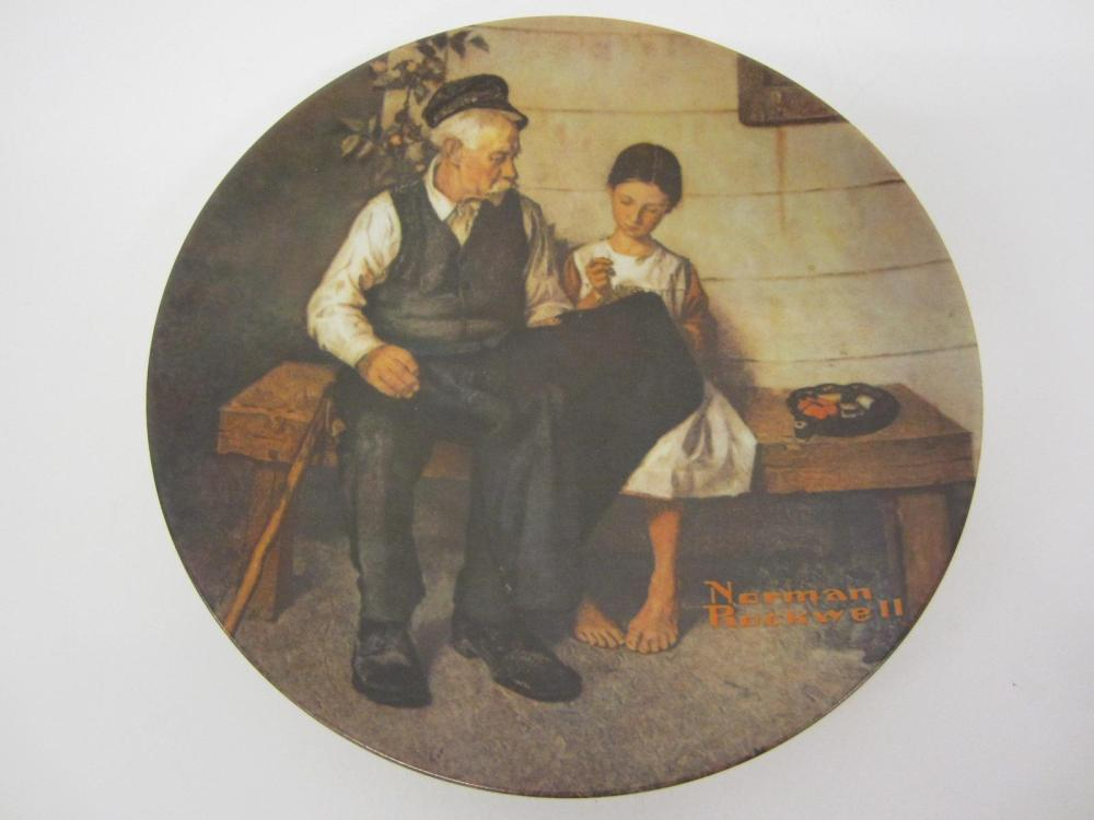 "NORMAN ROCKWELL VINTAGE GLASS PLATE ""THE LIGHTHOUSE KEEPERS DAUGHTER"""