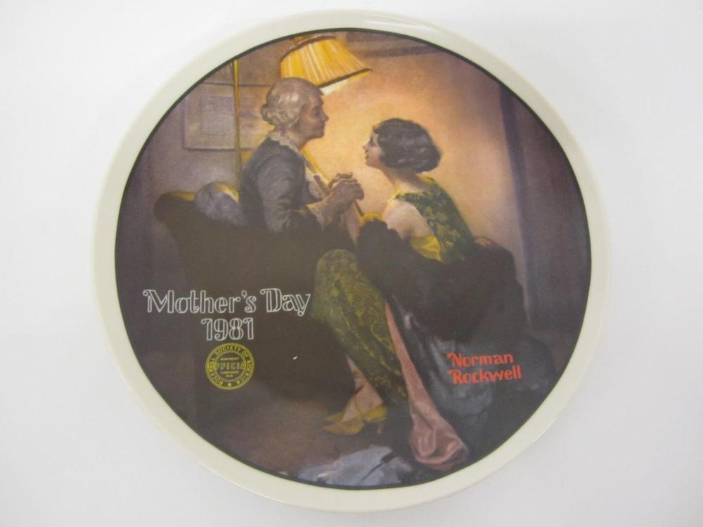"NORMAN ROCKWELL VINTAGE GLASS PLATE ""AFTER THE PARTY"" MOTHERS DAY 1981"