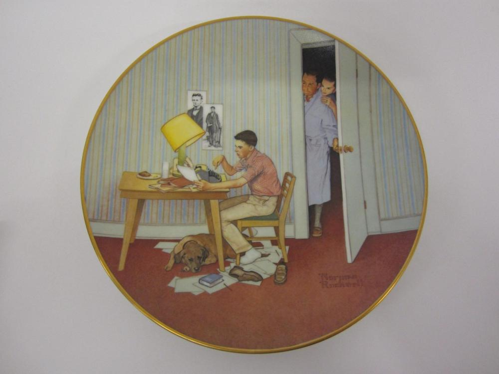 "NORMAN ROCKWELL VINTAGE GLASS PLATE ""THE STUDENT"""