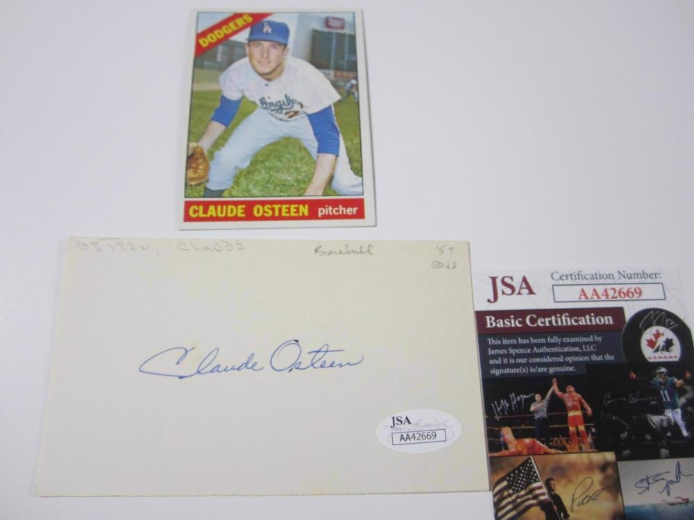 Claude Osteen Dodgers Hand Signed Autographed Index Card JSA Certified COA