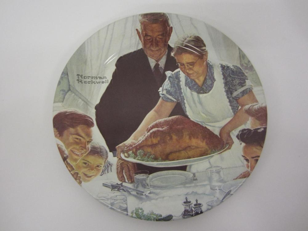 "NORMAN ROCKWELL VINTAGE GLASS PLATE ""FREEDOM FROM WANT"""