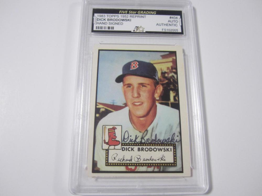 DICK BRODOWSKI RED SOX TOPPS 1952 RP HAND SIGNED AUTOGRAPH CARD VINTAGE NICE