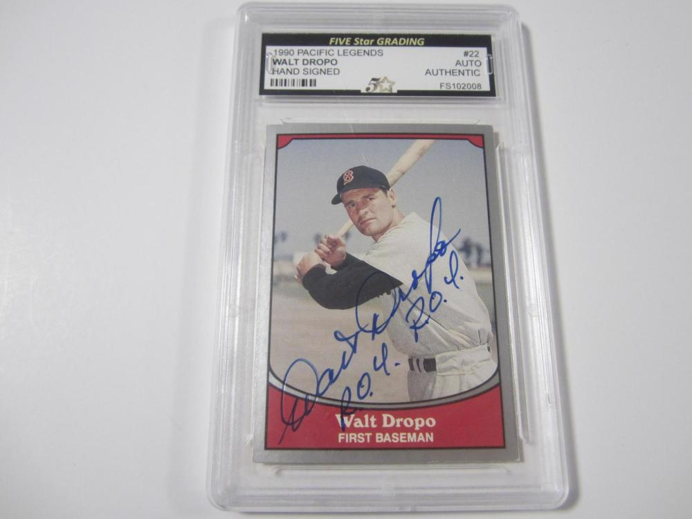 WALT DROPO BOSTON RED SOX LEGENDS HAND SIGNED AUTOGRAPH CARD VINTAGE NICE