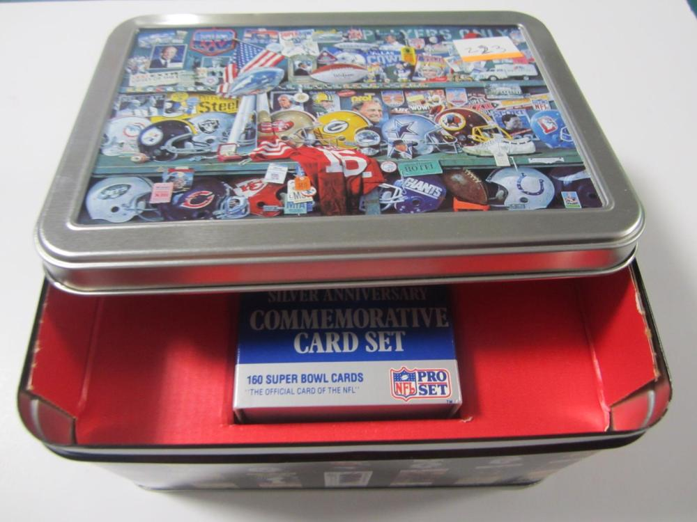 1990 PROSET SUPERBOWL TIN & CARDS