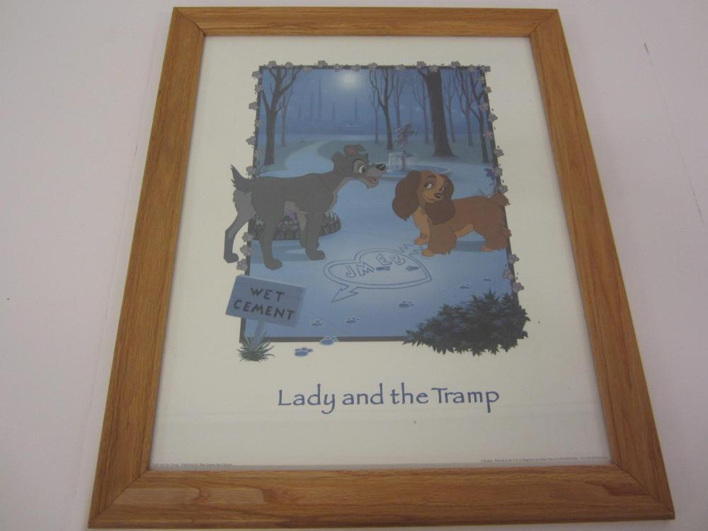 DISNEY LADY AND THE TRAMP ORIGINAL POSTER FRAMED