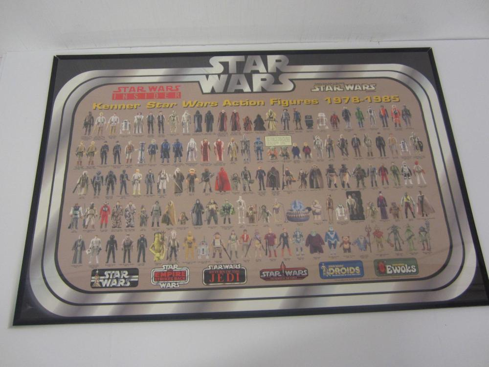STAR WARS ACTION FIGURES 1978-1985 POSTER FRAMED VINTAGE