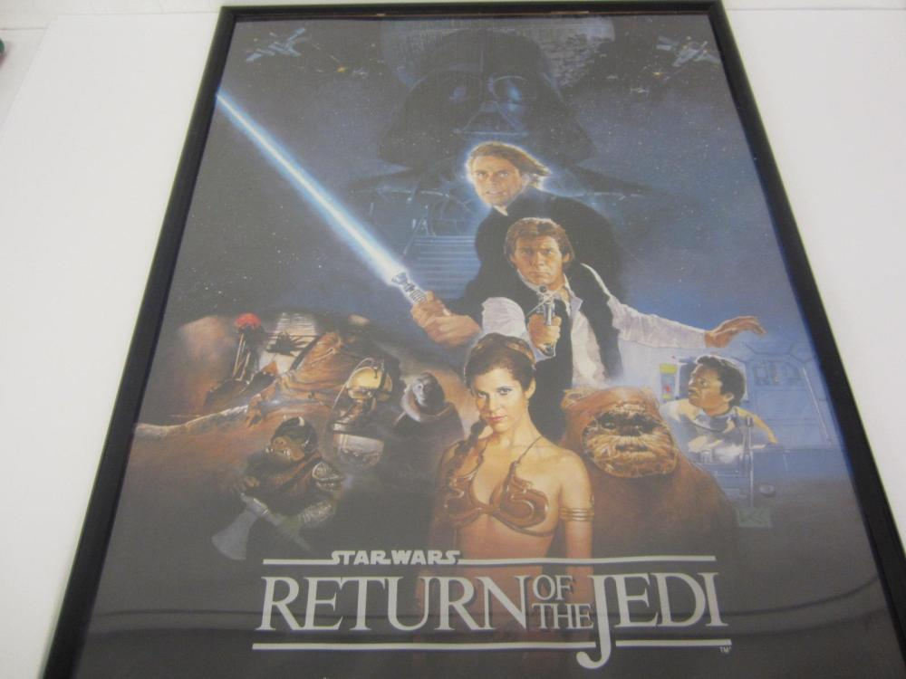 STAR WARS RETURN OF THE JEDI ORIGINAL MOVIE POSTER SIGNED AUTOGRAPHED CARRIE FISHER,MARK HAMILL,HARRISON FORD,ANTHONY DANIELS,DAVID PROWSE COA