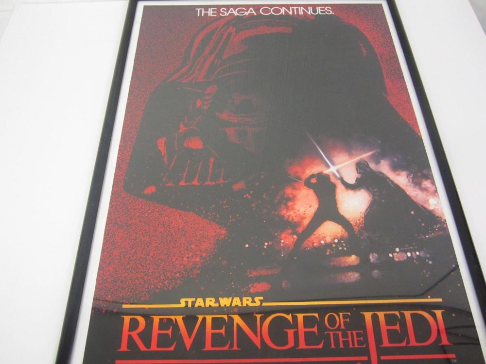 STAR WARS REVENGE OF THE JEDI 1982 ORIGINAL ADVANE TEASER 1 SIDED ORIGINAL MOVIE POSTER FRAMED RARE