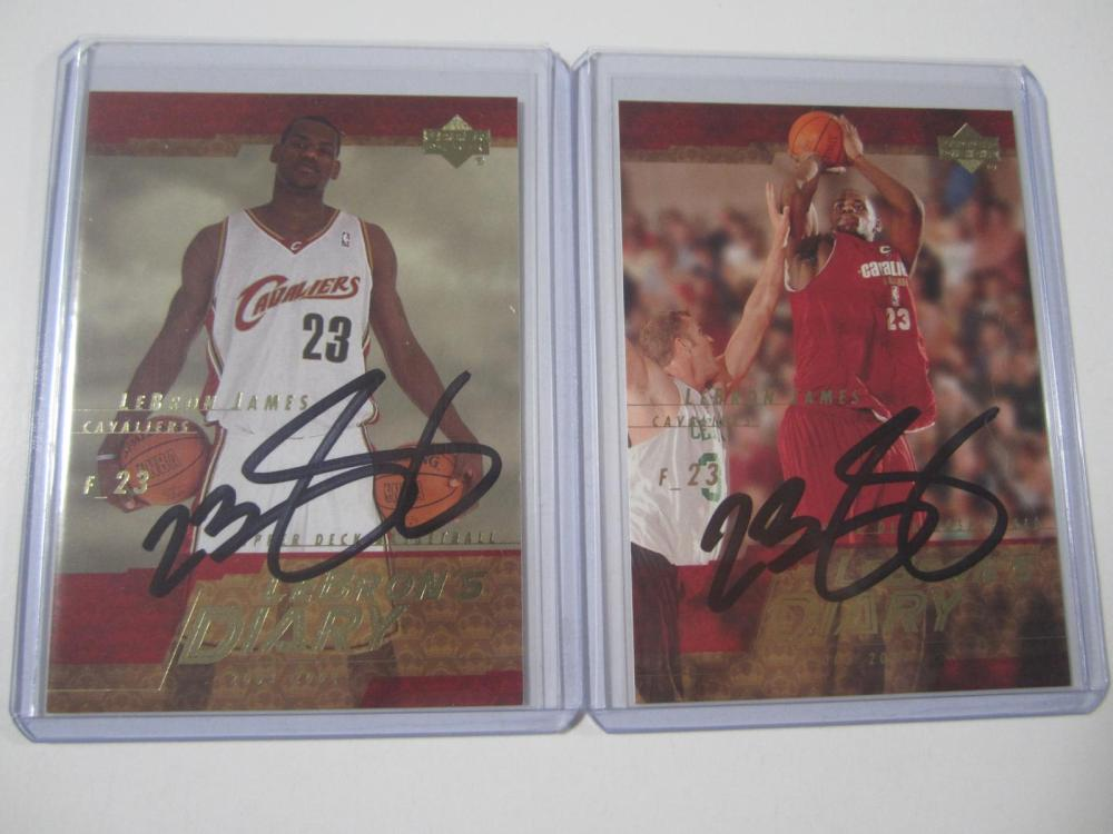 (2)LEBRON JAMES SIGNED AUTOGRAPHED CAVALIERS CARDS COA
