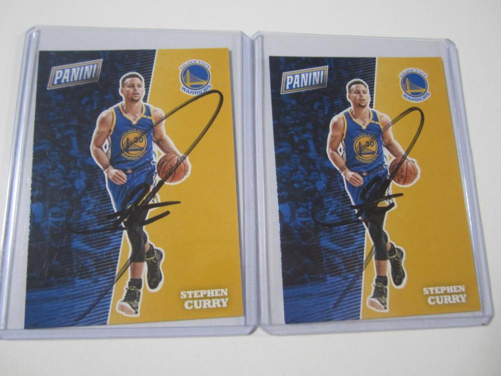 (2)STEPHEN CURRY SIGNED AUTOGRAPHED WARRIORS CARDS COA